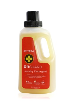 On Guard Laundry Detergent is a natural-based, ultra concentrated 6X laundry detergent that utilizes the power of On Guard Protective Blend and bio-originated enzymes to target and lift stains for amazingly clean clothes. This small bottle packs a punch with 10 mL of On Guard essential oil and the ability to do up to 64 loads of laundry! It is color safe for washable fabrics at all temperatures and is free of synthetic fragrances, dyes, and toxins, which makes it a safe choice for your family as well as the environment.